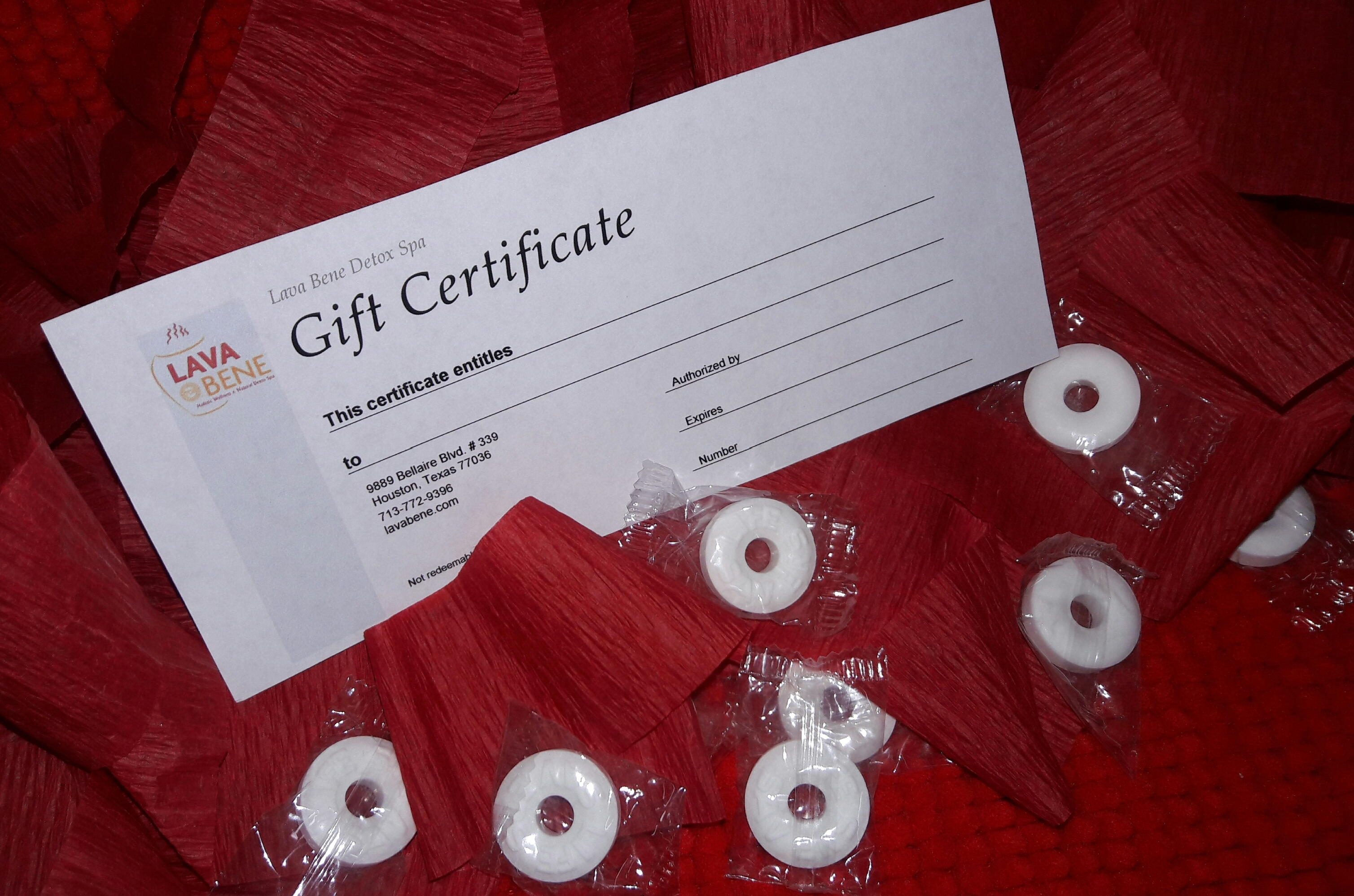 LavaBene Gift Certificates